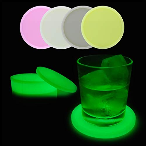 Nesee Luminous Silicone Insulated Coffee Place Mat Reusable Non-Slip Button Coaster Cup Glass Drink Coasters for Coffee Cup, Wine Glass, Beer Bottle (Best Coffee Brand To Drink Black)
