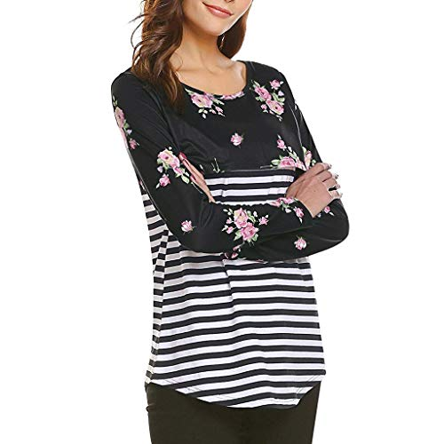 Tees Stripe Hoodie Tops (Women's Pregnant Blouse Women's Pregnancy T-shirt Splicing Stripe Floral Print Nursing Baby Top)