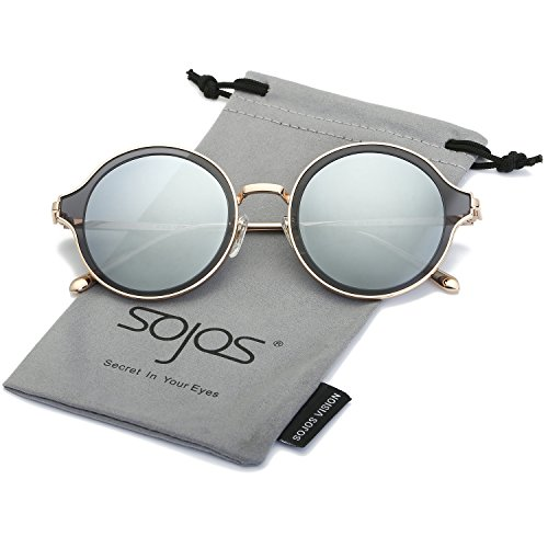 SojoS Round Polarized Sunglasses Metal Frame Flat Lens Unisex Glasses SJ1058 With Gold Frame/Grey&Silver Mirorred Lens (Unisex Sunglasses Plastic)