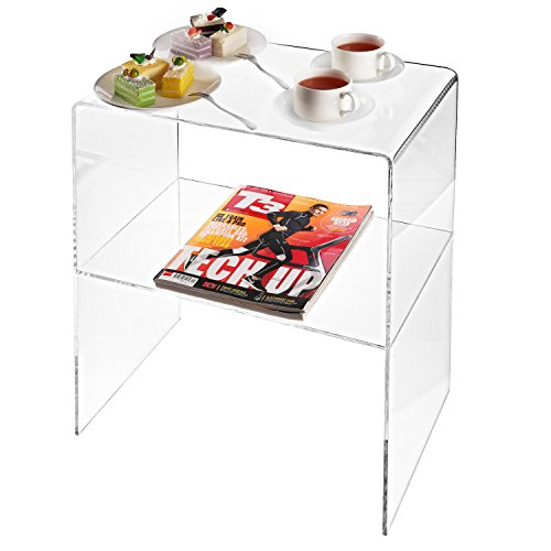Modern Design Clear Acrylic Decorative End Table, Home Decor Display Nightstand w/ 2 Shelves - 10mm Thick Acrylic