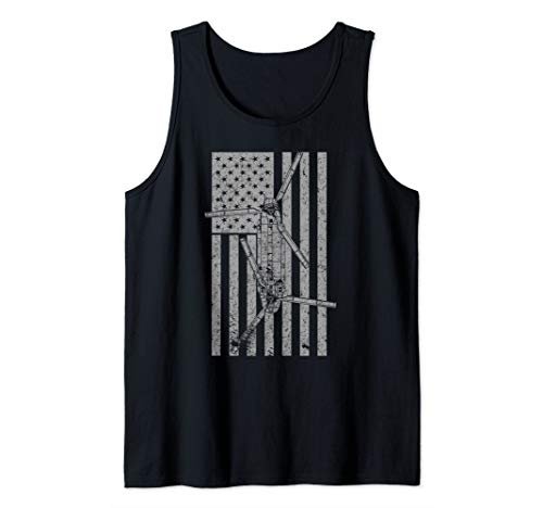 CH-47 Chinook Military Helicopter Vintage Flag  Tank Top
