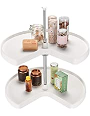 SortWise 28 Inch Kidney Shape Revolving Cabinets Corner Shelf Lazy Susan, White
