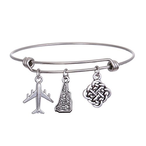 JJTZX State Bangle U.S. Map Charm Expandable Travel Bracelet Long Distance Relationship Gift Best Friends Bracelet (New Hampshire)