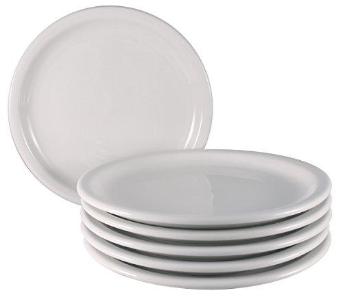 Bone White Dinner Plates (ITI Valencia Ceramic Plates with Pan Scraper, Bone White (6-Pack, 9 Inch))