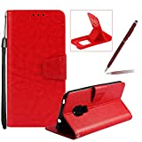 Strap Leather Case for Huawei Mate 20,Wallet Flip Case for Huawei Mate 20,Herzzer Retro Classic Red Solid Color Magnetic Closure Stand Shockproof Card Holder Slots Folio PU Leather Back Case with Soft Silicone