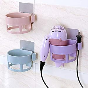 MODULYSS Plastic Hair Dryer Holder with Wall Mount Suction Cup Fix for Bathroom/Bedroom (Multicolour)