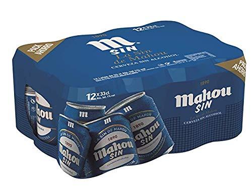 Mahou – Sin Alcohol Cerveza Dorada Lager – Pack de 12 x 33 cl