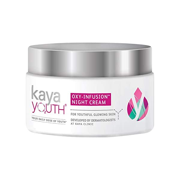 Kaya Youth Oxy-Infusion Night Cream, Boosts Skin Oxygen, Replenishes skin moisture overnight, Gives youthful glowing… 2021 June Replenishes skin moisture overnight Non-oily night cream that removes dullness, dark spots, dullness and uneven skin tone Developed by dermatologists
