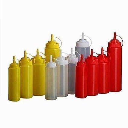 Hilai plástico Exprimir Botella condimento dispensador Ketchup Salsa de Mostaza Clara