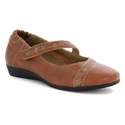 Taos Womens Grace Mary Jane Flat Burnt Orange