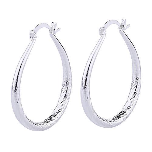Women Elegant Silver Filled Stud Hoop Dangle Earring Wedding Jewelry