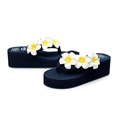Eagsouni Damen Plateau Sandalen Plattform Flip Flops, Sommer Mädchen Blume Keilabsatz Hausschuhe Dunkelblau