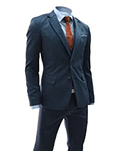 B00EU1LY1O (NIFS211) TheLees Slim Fit Single Breasted Checker 2 Button Suit Set BLUE
