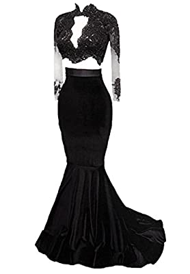 Allenqueen Women's Sexy Mermaid Prom Dress with Long Sleeve Illusion Backless Evening Gown