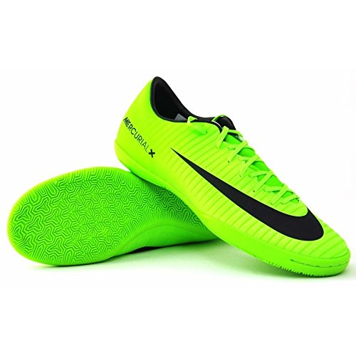 NIKE Men's Mercurial Victory VI IC Indoor Soccer Shoe (SZ. 10) Electric Green, Black