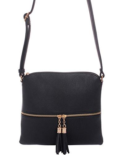 Trendy Tassel Messenger Bag Black - 3