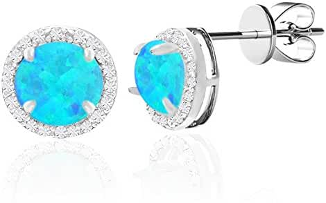 SPECIAL OFFER Cubic Zirconia Halo Opal Stud