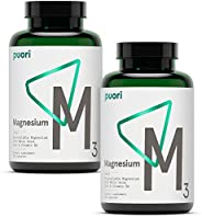 Puori M3 Magnesium Supplement - 240 Vegan Capsules - Helps with Immune Support, Muscle Recovery and Leg Cramps