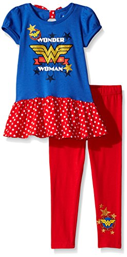Warner Brothers Girls' 2 Piece Wonder Legging Set with Chiffon, Blue, 4t -