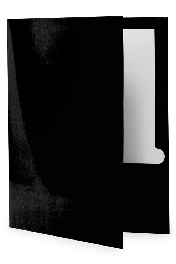 50-Pack Black Glossy Twin Pocket Folders by goindico