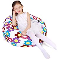 """Kid's Stuffed Animal Storage Bean Bag Chair with Extra Long Zipper, Carrying Handle, Large Size at 38"""", 100% Sturdy Cotton. Excellent Solution for Toys and Clothes, Available for Boys and Girls"""