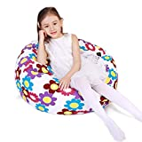 Stuffed Animal Storage Bean Bag Chair, Bean Bag Cover for Organizing Kid's Room - Fits a Lot of Stuffed Animals, Large/Flowers White