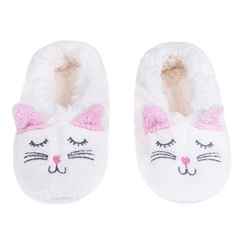 Animal Heads Sherpa Plush Fleece Lined Slipper Socks (Rabbit White, 21CM) for $<!--$6.99-->
