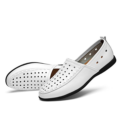 pelle Breathable Dimensione in da Xiazhi scamosciata slip fodera EU on Mocassino Style vera pelle uomo 47 in shoes con Color White wUUqAP