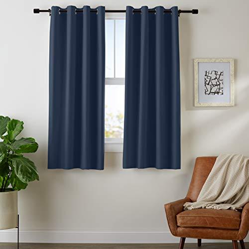 AmazonBasics Room Darkening Blackout Window Curtains with Grommets  - 42 x 63, Navy, 2 Panels