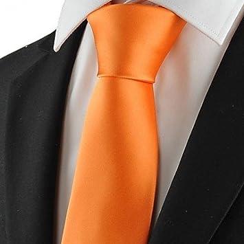 FYios®Sólidos nuevos hombres Naranja Calabaza traje Corbata ...
