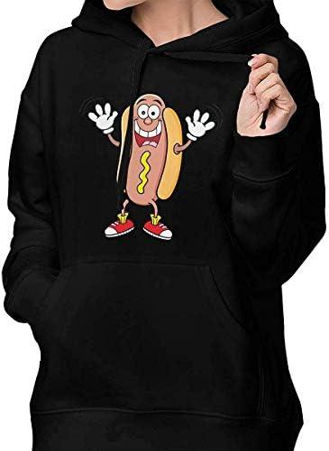 xinfub Frauen Hot Dog Langarm Pullover mit Kapuze Sweatshirt
