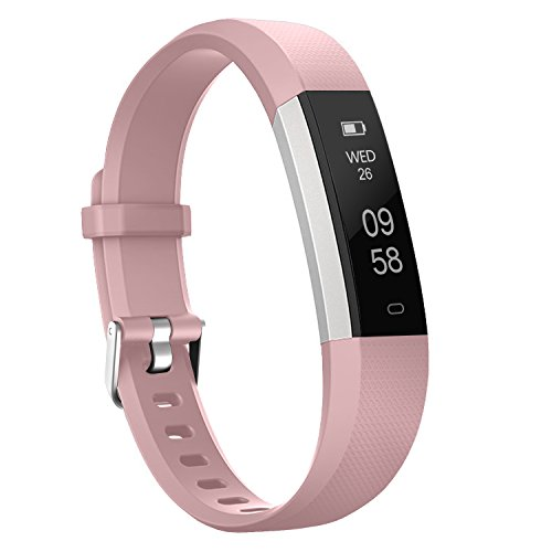 Activity Pedometer - moreFit Fitness Tracker, Slim 2 Touch Screen Activity Health Tracker with Sleep Monitor, Wireless Pedometer Smart Wristband For Android iOS Phone, Silver/Pink