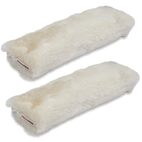 Andalus Authentic Sheepskin Car Seat Belt Cover (2 Pack), Pearl, Soft Shoulder Pad, Comfortable Driving, Genuine Natural Merino Wool