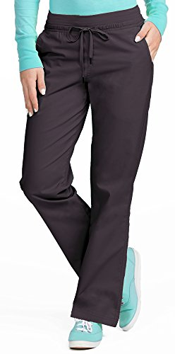 Med Couture Signature Yoga Drawstring Scrub Pant for Women, Charcoal/Aruba Blue, Small