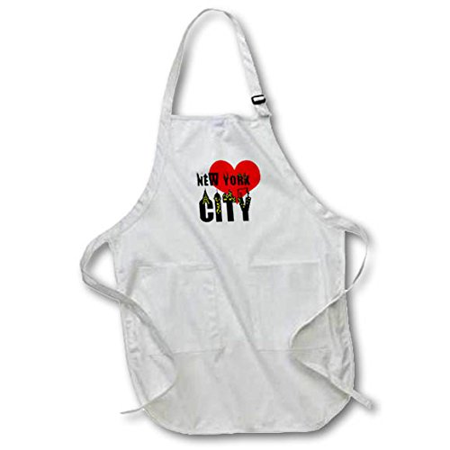 3dRose Alexis Design - American Cities - Stylish text New York City, red heart, shining windows on black - Full Length Apron with Pockets 22w x 30l (apr_286453_1)