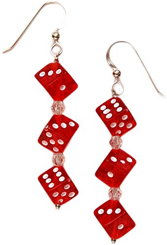 Curious Designs Earrings - Triple Red Dice, Two Inch Length
