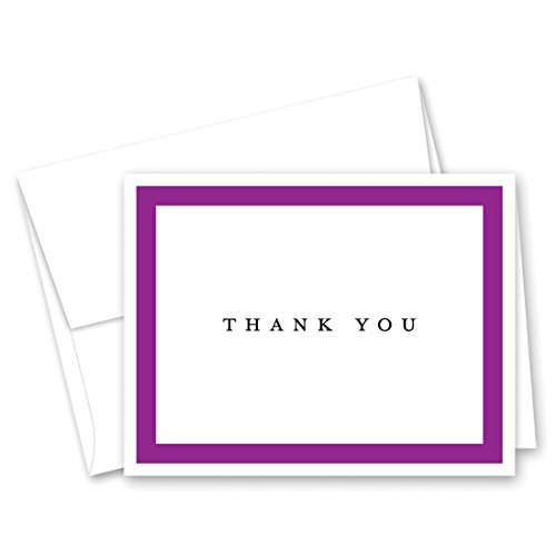 50 Simple Border Thank You Cards (Purple)