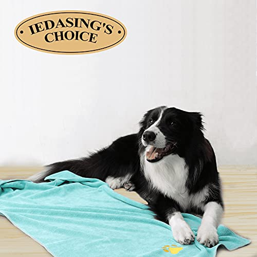 Dog Towel Microfiber Pet Towel Embroidered Paw Pattern Ultra-Absorbent Soft & Fast Drying Suitable for Dog Bathing Beach Travel , Large Size, Mint Green, 39.37 x19.69in
