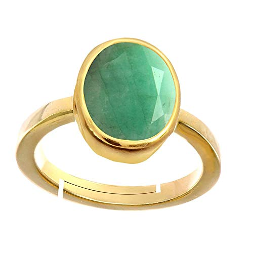 - GEMS HUB Natural Emerald Panna 4.8 Ct./5.25 Ratti Stone Panchdhatu Adjustable Ring for Men