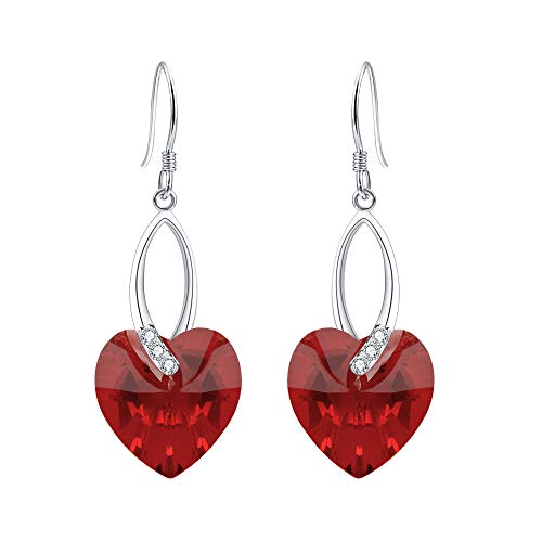 (EleQueen 925 Sterling Silver CZ Love Heart French Hook Dangle Earrings Siam Color Made with Swarovski Crystals)