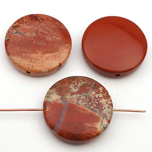 (3 Pcs Large Flat Round Red White Lace Jasper Beads 25mm)