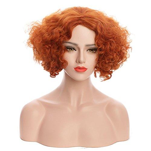 Karlery Women Men Short Bob Curly Brown Wig