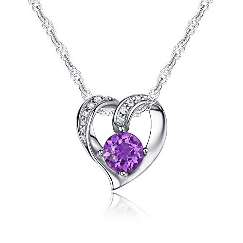 Ideal Gifts Sterling Silver and Natural Amethyst Gemstone Heart Style Necklace Pendant,18