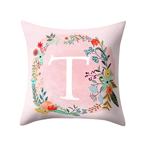 (Littay Throw-Pillow-Covers, English Alphabet Pillow Print Cushion Flower Pillowcase Cover Room)