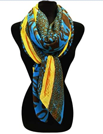 b80c1ddda1 Amazon.com : TRENDY & STYLISH Vibrant Neon Animal Print Scarf (Blue ...
