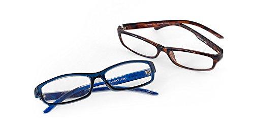 London Fog Designer Reading Glasses for Men & Women 2 PK Readers- 1.50 Strength (Tortoise/Blue - Fog London Frames