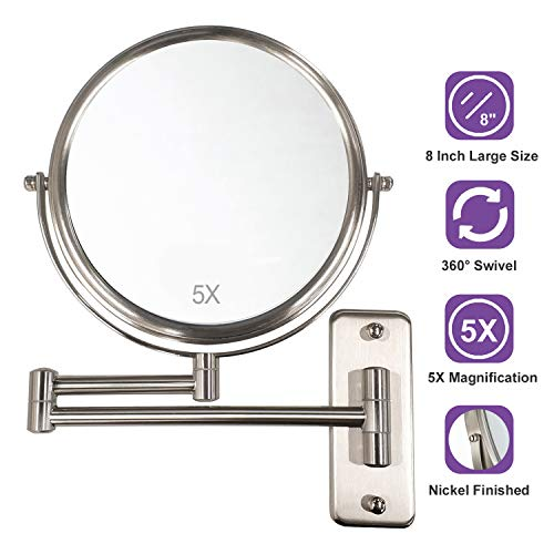 ALHAKIN Wall Mounted Makeup Mirror with 5X Magnification, 8 Inch Double Sided - Bathroom Mirrors Finish Nickel