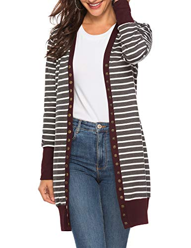 Viracy Snap Cardigan Women, Ladies Long Sleeve Casual Open Front Knit Long Striped Cardigans Thin Sweaters for Christmas (Small, Wine-Stripe)