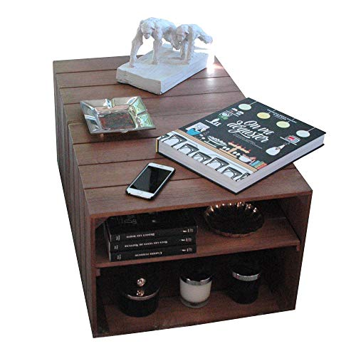 LIZA Line Mesa DE Centro, 2 Compartimentos, Estilo Cajas Vintage, con Ruedas Giratorias. Madera de Pino Nordico Macizo 51 x 83 x 40 cm (Nogal),