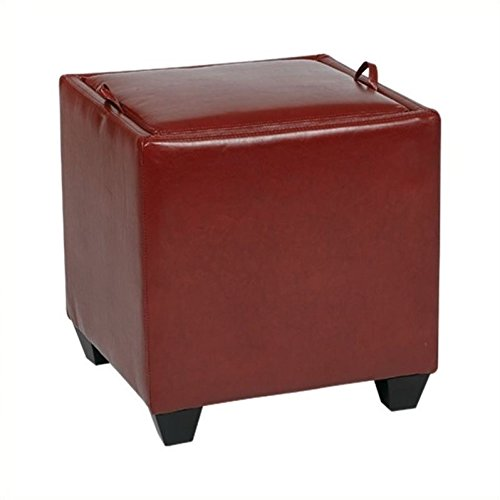 Office Star Metro Bonded Leather Storage Ottoman Cube with Tray, Crimson Red - Metro Square Storage Ottoman